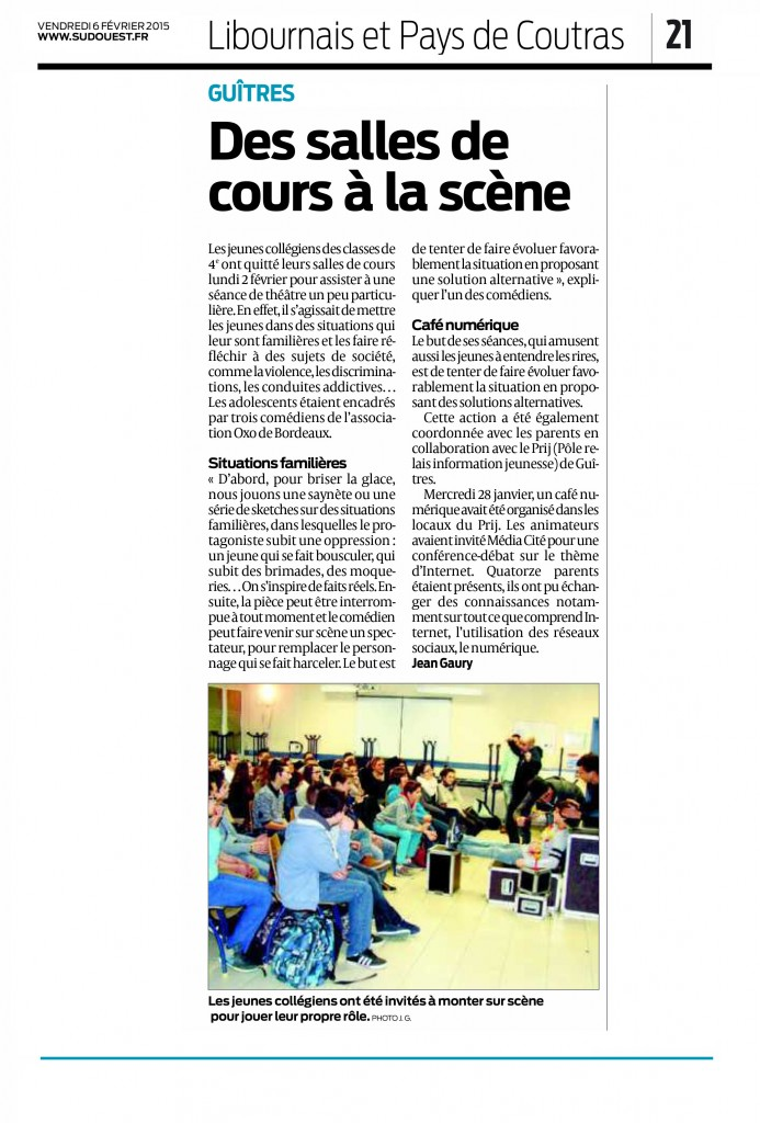 Article-OXO-Sud-Ouest-06-Fevrier-2015